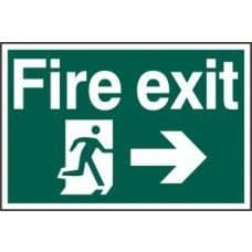 SIGN FIRE EXIT RUNNING MAN ARROW RIGHT 300x200MM 1504