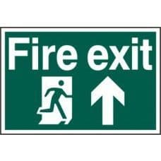 SIGN FIRE EXIT RUNNING MAN ARROW UP 300x200MM 1505