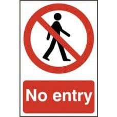 SIGN NO ENTRY 200x300MM 0600