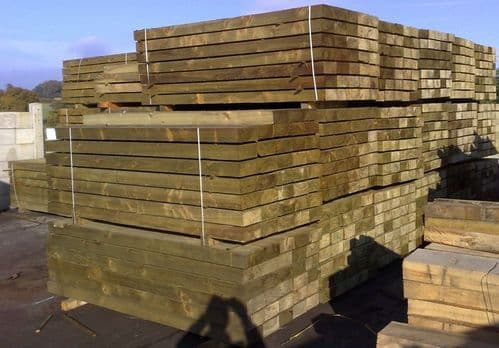 WOODEN SLEEPERS NEW TREATED GREEN  **6ft** 1.8MT x 200MM x 100MM
