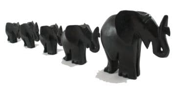 Family of Five Elephants in Wood - Dark