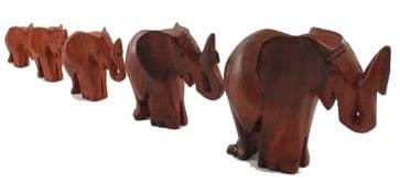 Family of Five Elephants in Wood - Light