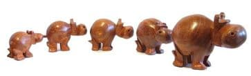 Family of Five Hippos in Wood