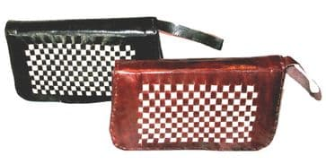 Hand-stitched Leather Purse - Two-tone Brown & White