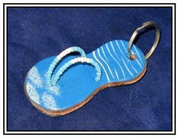 Leather Keyring - Flip-flop Design #1