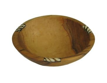 "Olive Wood Bowl 6"" / 15cm featuring horn inlay"