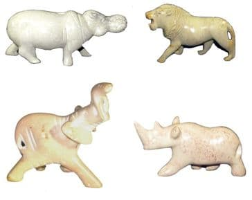 Set of 4 Farm Animals in Soapstone Pig Cow Sheep Goat Figures 5cm in White Gift Box (1)