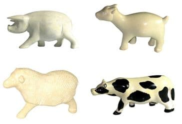 Set of 4 Farm Animals in Soapstone Pig Cow Sheep Goat Figures 5cm in White Gift Box