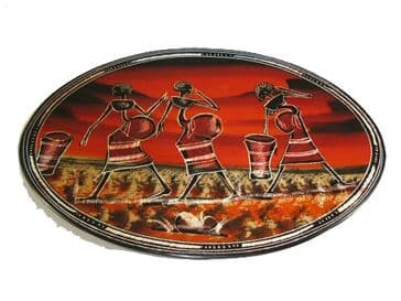"""Soapstone Oval Plate 12"""" / 30cm - Dancers"""