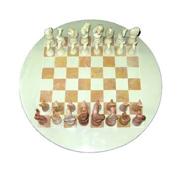Soapstone Round Chess Board featuring African Wildlife Playing Pieces - Natural