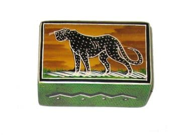 Soapstone Small Jewellery Box - African Wildlife Design - Leopard Sunset