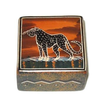 Soapstone Small Square Jewellery Box - African Wildlife Design - Leopard Sunset