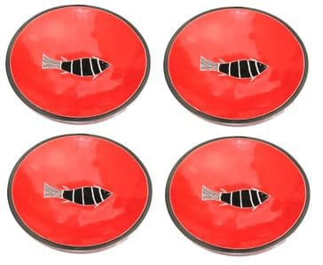 """Stone Snack Bowls 4"""" / 10 cm - Red Fish- Set of 4"""