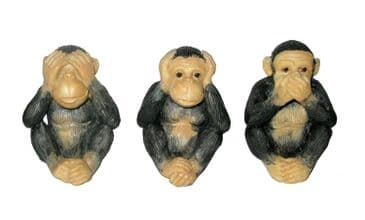 Three Wise Monkeys Hand Painted Figures 8cm See no Hear no Speak no Evil Innocent Monkeys