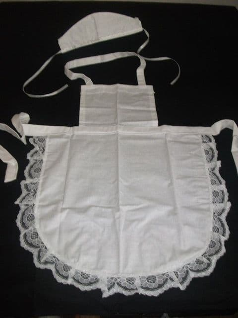 11 x CHILDS  GIRLS WHITE  FULL APRON LACE /HAT /VICTORIAN alice in wonder land