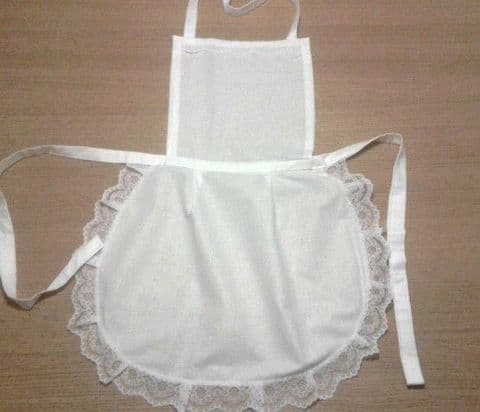 30 x ADULT WHITE FULL APRON WHITE LACE TRIM VICTORIAN  MAID fancydress/hen party