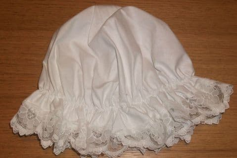 ADULT'S. CHILDS WHITE MOP HAT. MAID.FANCY DRESS. WHITE LACE victorian edwardian