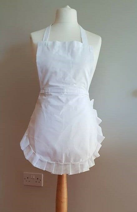 Alice in Wonder 50's Full apron white cotton frill, Junior Adult x large