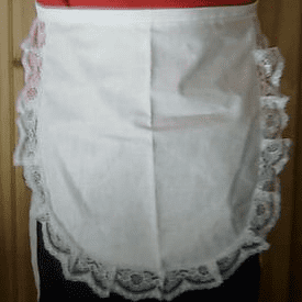 Child's White waist waitress  Victorian Edwardian apron,White lace edge detail