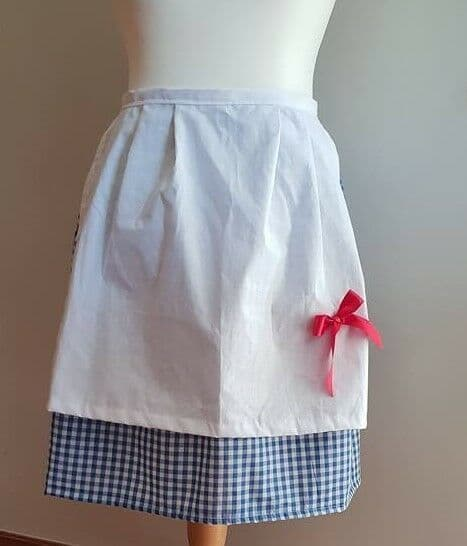 Wizard of oz Dorthy Type Fancy Dress Waist Apron Blue Gingham with White Cotton