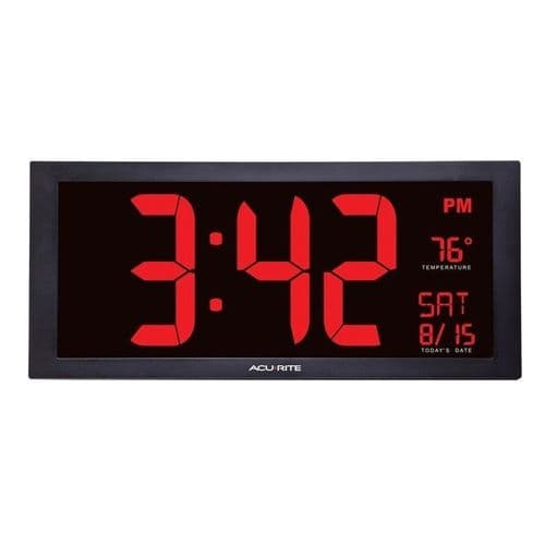 "AcuRite 75100 OverSized 18"" Digital LED Clock with Indoor Temperature & Date"