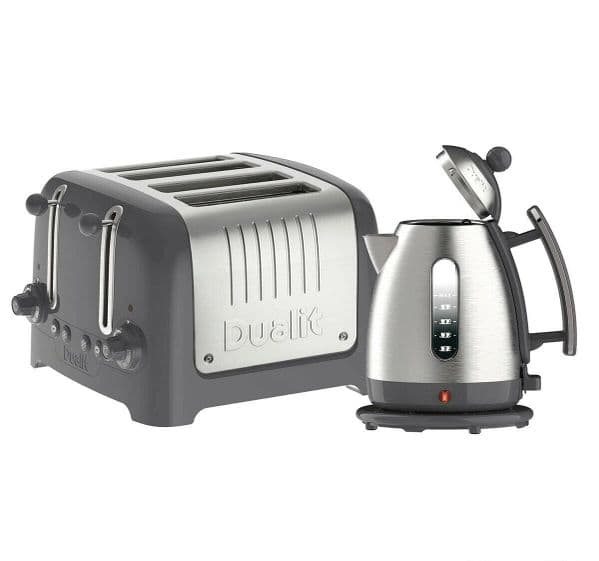 Dualit Lite Kettle & 4 Slot Toaster Set Brushed Grey 10128 JKT3a/DPP4