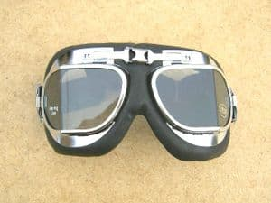Flying Goggles, Chrome & Leather Trim,