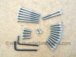 Stainless Allen screw set,Triumph, all Unit Construction 350/500 up to 1968, BSF