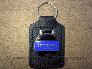 Triumph  Keyfob with Enameled  Badge, Black & Blue, top quality.