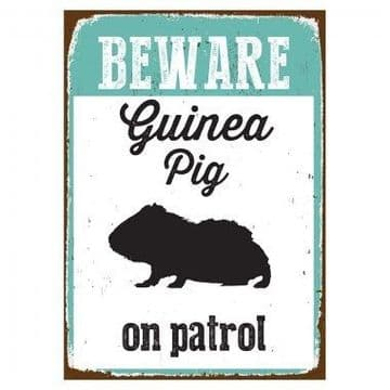 Beware Sign Guinea Pig Tin