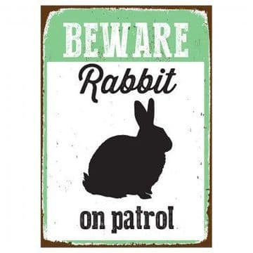 Beware Sign Rabbit Tin