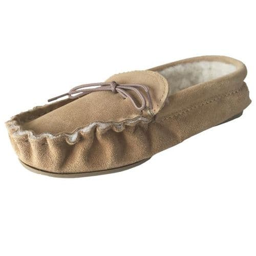 Beige (Tan) Size 6 Fur Lined Moccasin Slippers