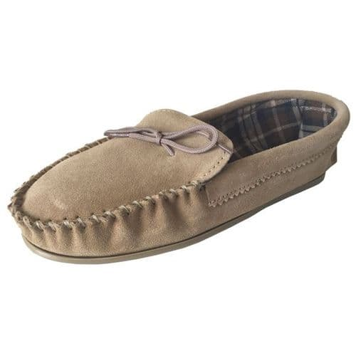 Beige (Tan) Size 8 Cotton Lined Moccasin Slippers