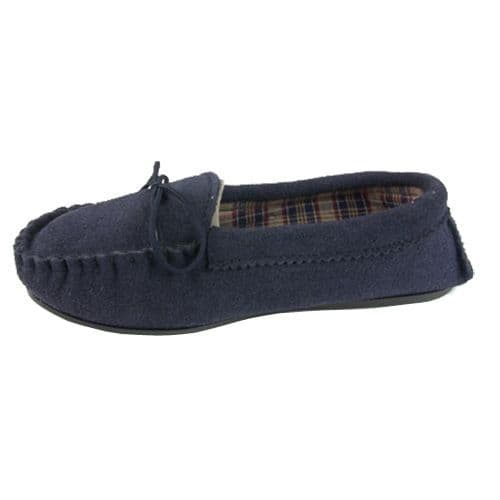 Moccasin Slippers Cotton Lined Size 5 Navy