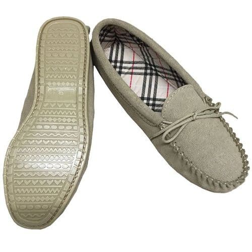 Moccasin Slippers Cotton Lined Size 7 Beige