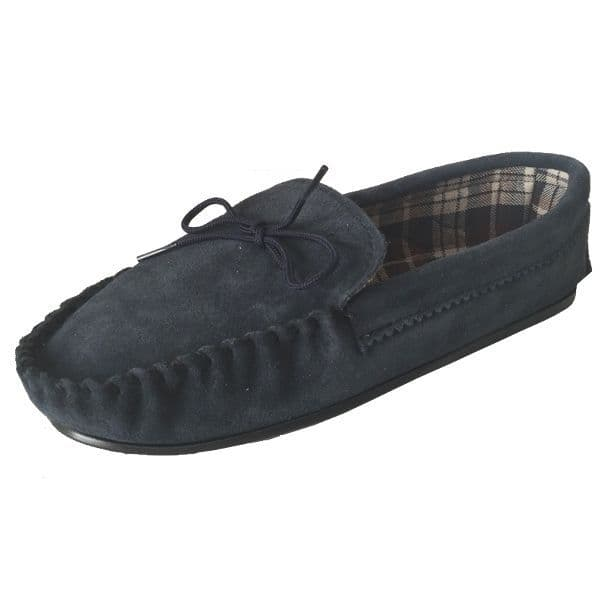 Navy Size 10 Cotton Lined Moccasin Slippers | Tools & Leisure