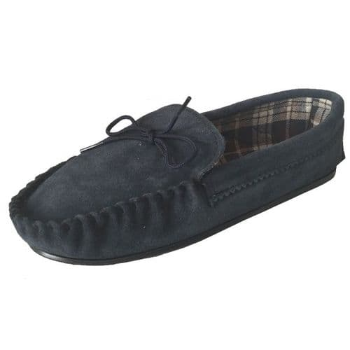 Navy Size 10 Cotton Lined Moccasin Slippers