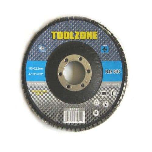 """Toolzone Tools 4 1/2"""" Flap Disc - 80 Grit"""