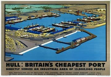 Hull, Britains Cheapest Port, Yorkshire. Vintage LNER Travel poster by H G Gawthorn. 1929