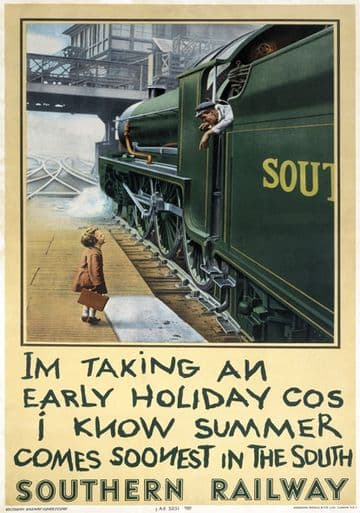 Im Taking an Early Holiday. Waterloo Station. Vintage SR Travel poster. 1936