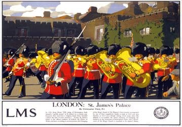London, St Jamess Palace. Vintage LMS Travel Poster by Christopher Clark