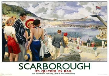 Scarborough, Yorkshire. Its Quicker By Rail. LNER Vintage Travel Poster by Edmund Oakdale