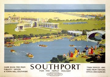 Southport, Merseyside. Vintage BR (LMR) Travel poster by Ellis Silas. 1950s