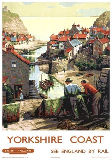 Yorkshire Coast, Staithes, Scarborough. Vintage BR Travel poster by B