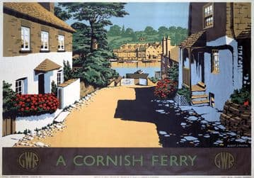 A Cornish Ferry, Boddinick near Fowey, Cornwall. GWR Vintage Travel Poster by Albert J Martin
