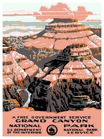 A Free Government Service, Grand Canyon. National U.S Department of the Interior. Vintage Poster by the National Park Service.