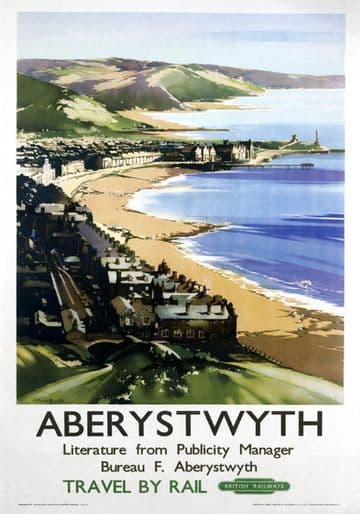 Aberystwyth, Ceredigion, Wales.  British Railways Vintage Travel Poster by Claude Buckle