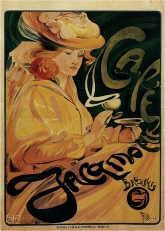 Advertising poster -  CAFE JACQMOTTE BRUSSELS COFFEE CUP