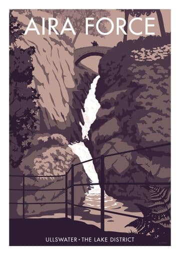 Aira Force Waterfalls, Ullswater The Lake District Vintage inspired Travel Poster Stephen Millership