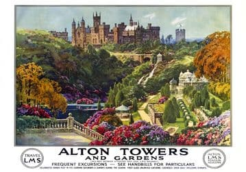 Alton Towers & Garden, Staffordshire. LMS Vintage Travel Poster by E W Haslehust